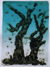 "Fantasy Trees I. Monotype with Rainbow Roll  8"" x 11"""