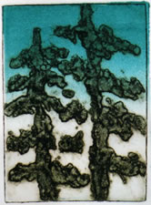 "Fantasy Trees II. Monotype with Rainbow Roll  8"" x 11"""